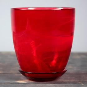 Горшок цветочный с поддоном  №4, алебастр, рубин, 2 л Ош