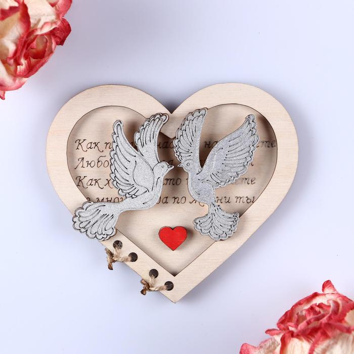 """Деревянная открытка """"Голуби в сердце"""" ручная работа"""