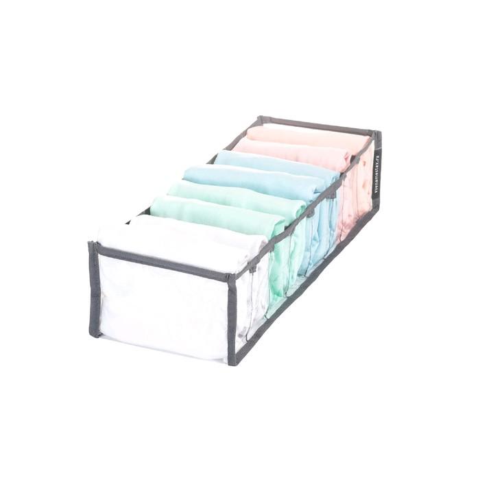 Органайзер прозрачный, 40х15х10 см, 8 ячеек, цвет серый