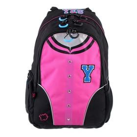 Рюкзак молодежный эргоном.спинка Yes T-26 45*30*14 дев Bomber, чёрный/розовый 553131