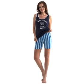 Пижама женская (майка, шорты), цвет чёрный/синий, размер 42
