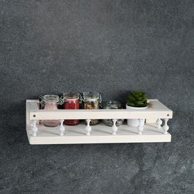 Полка деревянная 'Балюстрада', цвет белый, 10 х 37 х 15 см Ош