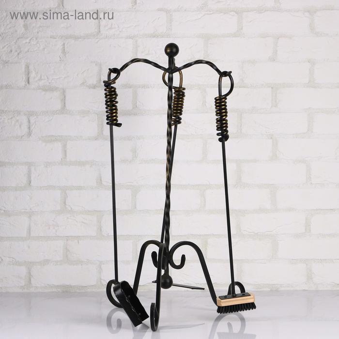 Купить со скидкой Камин набор кованый, цвет черный, 3 предмета: кочерга, совок, метёлка