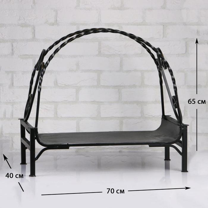 Дровница кованная с поддоном, черная, 70х40х65см