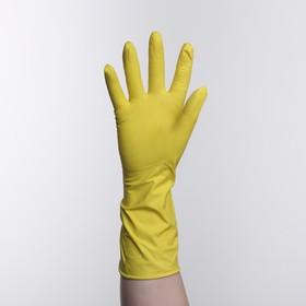Перчатки латексные Dora, с хлопковым напылением «Универсальные», размер M, цвет жёлтый Ош