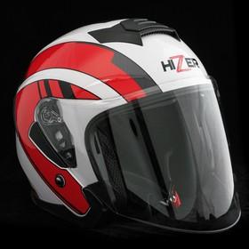 Шлем HIZER J222, размер M, белый/красный Ош