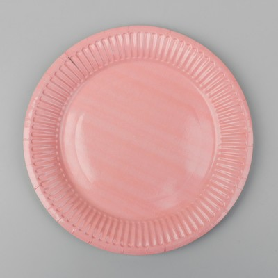 Тарелка бумажная, однотонная, цвет бледно-розовый