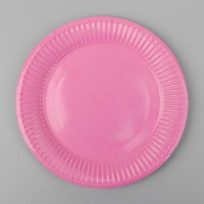 Тарелка бумажная, однотонная, цвет розовый
