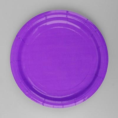 Тарелка бумажная, однотонная, цвет фиолетовый