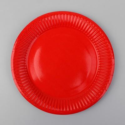 Тарелка бумажная, однотонная, цвет красный