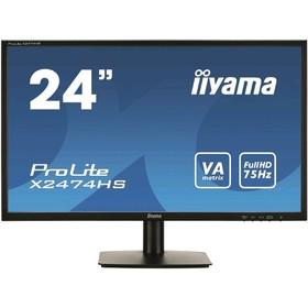 """Монитор Iiyama X2474HS-B2 23.6"""", VA, 1920x1080, 75Гц, 4мс, VGA, HDMI, DPort, чёрный"""