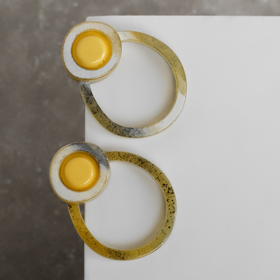 """Серьги пластик """"Стиль"""" круги двойные, цвет коричнево-жёлтый"""