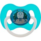 Пустышка латексная Canpol babies Space, круглая, от 0-6 месяцев, цвет бирюзовый