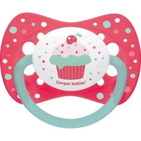 Пустышка силиконовая Canpol babies Cupcake, симметричная, от 18 месяцев, цвет розовый
