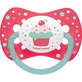 Пустышка силиконовая Canpol babies Cupcake, симметричная, от 6-18 месяцев, цвет розовый