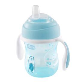 Чашка-поильник Chicco Transition Cup, силиконовый носик, от 4 месяцев, цвет голубой, 200 мл