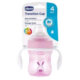 Чашка-поильник Chicco Transition Cup, силиконовый носик, от 4 месяцев, цвет розовый, 200 мл