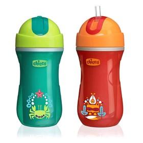 Чашка-поильник Chicco Sport Cup, с трубочкой, от 14 мес., цвет красно-зелёный, рисунок МИКС, 266 мл