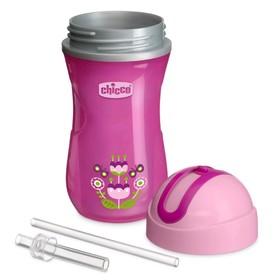 Чашка-поильник Chicco Sport Cup, с трубочкой, от 14 месяцев, цвет розовый, 266 мл