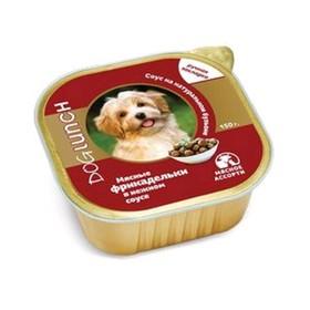 Влажный корм Dog Lunch для собак мясные фрикадельки в нежном соусе мясное ассорти, 150 г