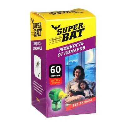"""Дополнительный флакон-жидкость от комаров """"SuperBAT"""", 60 ночей, флакон, 45 мл - Фото 1"""