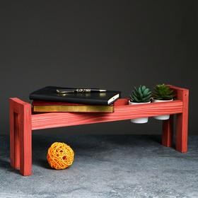 Полка деревянная 'Ручная', цвет красный, 18 х 50 х 10 см Ош