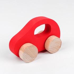 Каталка- Машинка деревянная, красная
