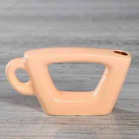 Ваза настольная 'Чашка', персиковый цвет, глазурь, 7 см, керамика Ош