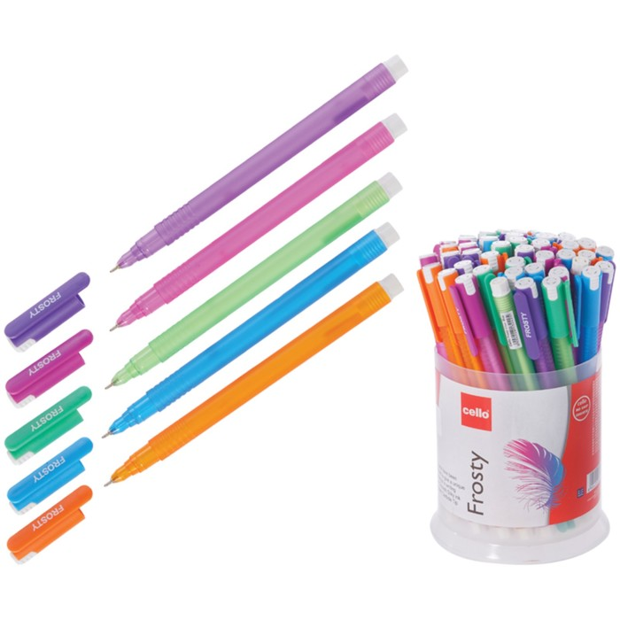 """Ручка шариковая Cello """"Frosty"""" узел 0,7мм, чернила синие, микс 705"""