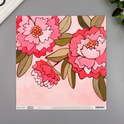 """Бумага для скрапбукинга двусторонняя """"Pink Peony"""" 30.5х30.5 см, 190 гр/м2"""