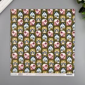 """Бумага для скрапбукинга двусторонняя """"Cottages"""" 30.5х30.5 см, 190 гр/м2"""