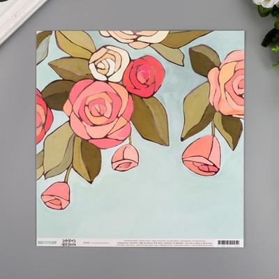 """Бумага для скрапбукинга двусторонняя """"Afternoon Roses"""" 30.5х30.5 см, 190 гр/м2"""