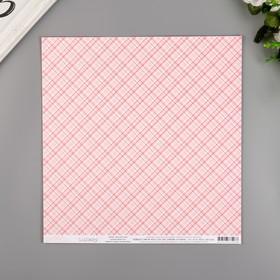 """Бумага для скрапбукинга Pebbles """"BABY GIRL PLAID"""" 30.5х30.5 см, 190 гр/м2"""