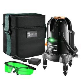 """Уровень лазерный DEKO DKLL11, 2 класс, 2 зеленых луча, 30 м, 5/8"""", автоматическое выравнивание   504"""