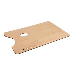 Палитра деревянная прямоугольная 27*38 см, 5 отверстий под кисти, береза Ош