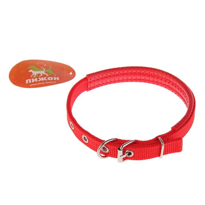 """Ошейник """"Комфорт"""" комбинированный (полиэстер, искусственная кожа), 39 х 1,5 см, красный"""