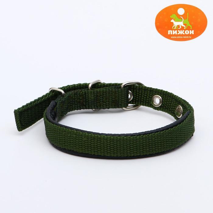 """Ошейник """"Комфорт"""" комбинированный (полиэстер, искусственная кожа) 39 х 1,5 см, темно-зелёный"""