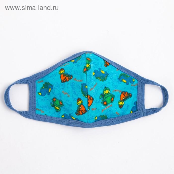 Повязка тканевая для мальчика, цвет голубой микс, возраст 3-6 лет