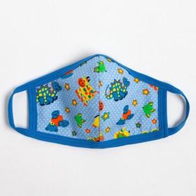 Повязка тканевая для мальчика, цвет голубой микс, возраст 7-12 лет
