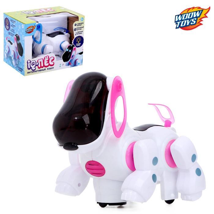 Игрушка-робот IQ-Пес, работает от батареек, световые и звуковые эффекты, цвет розовый