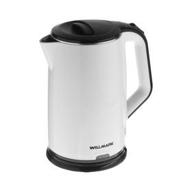 Чайник электрический WILLMARK WEK-2012PS, пластик, колба металл, 2 л, 2000 Вт, бело-чёрный