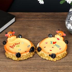 Блюдце декоративное 'Корова' 14х12х4,5 см микс Ош