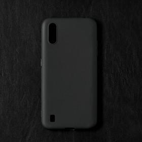 Чехол Qumann, для Samsung (А015) Galaxy A01, силиконовый, матовый, черный
