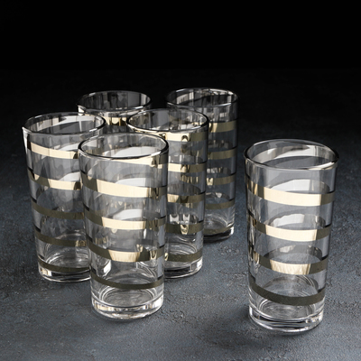 Набор стаканов GiDGLASS «Серпантин», 230 мл, 6 шт, золото