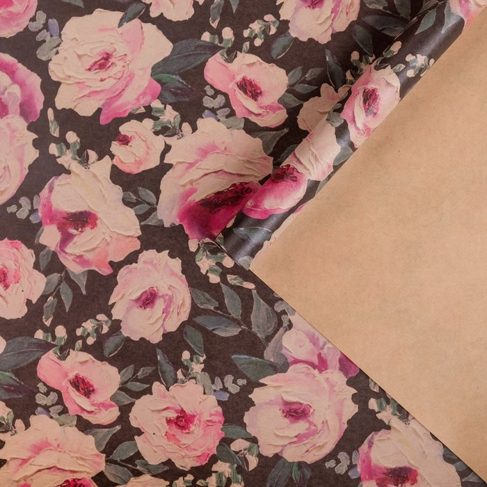 Бумага упаковочная крафтовая Крупные цветы50х70 см