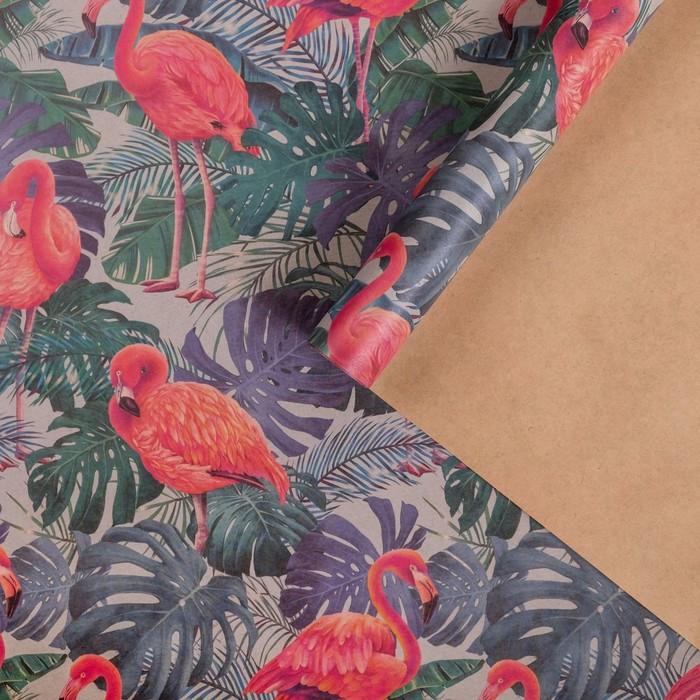Бумага упаковочная крафтовая Фламинго в тропиках 50х70 см