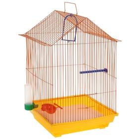 Клетка для птиц большая, крыша-домик, комплект, 34 х 28 х 54 см, жёлтый/оранжевый Ош