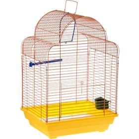Клетка для птиц 'Купола' комплект, 35 х 29 х 51 см, жёлтый/оранжевый Ош