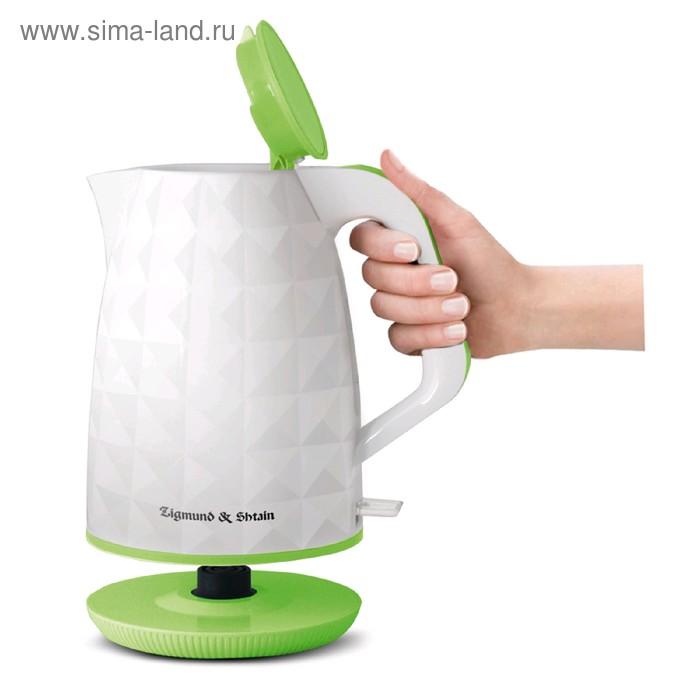Чайник электрический Zigmund & Shtain KE-619, 2200 Вт, 1.7 л, пластик, бело-зелёный
