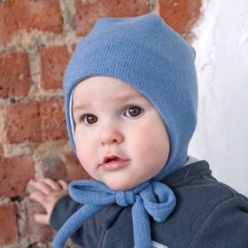 Шапка вязаная, размер 46-48, цвет  голубой
